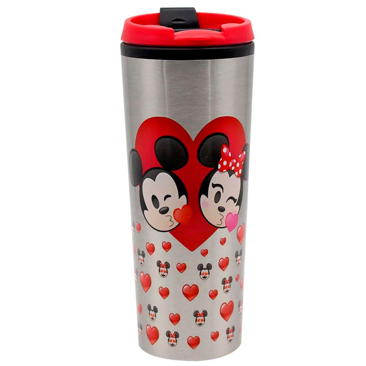 Copo Viagem 450 ml Mickey e Minnie Emoji