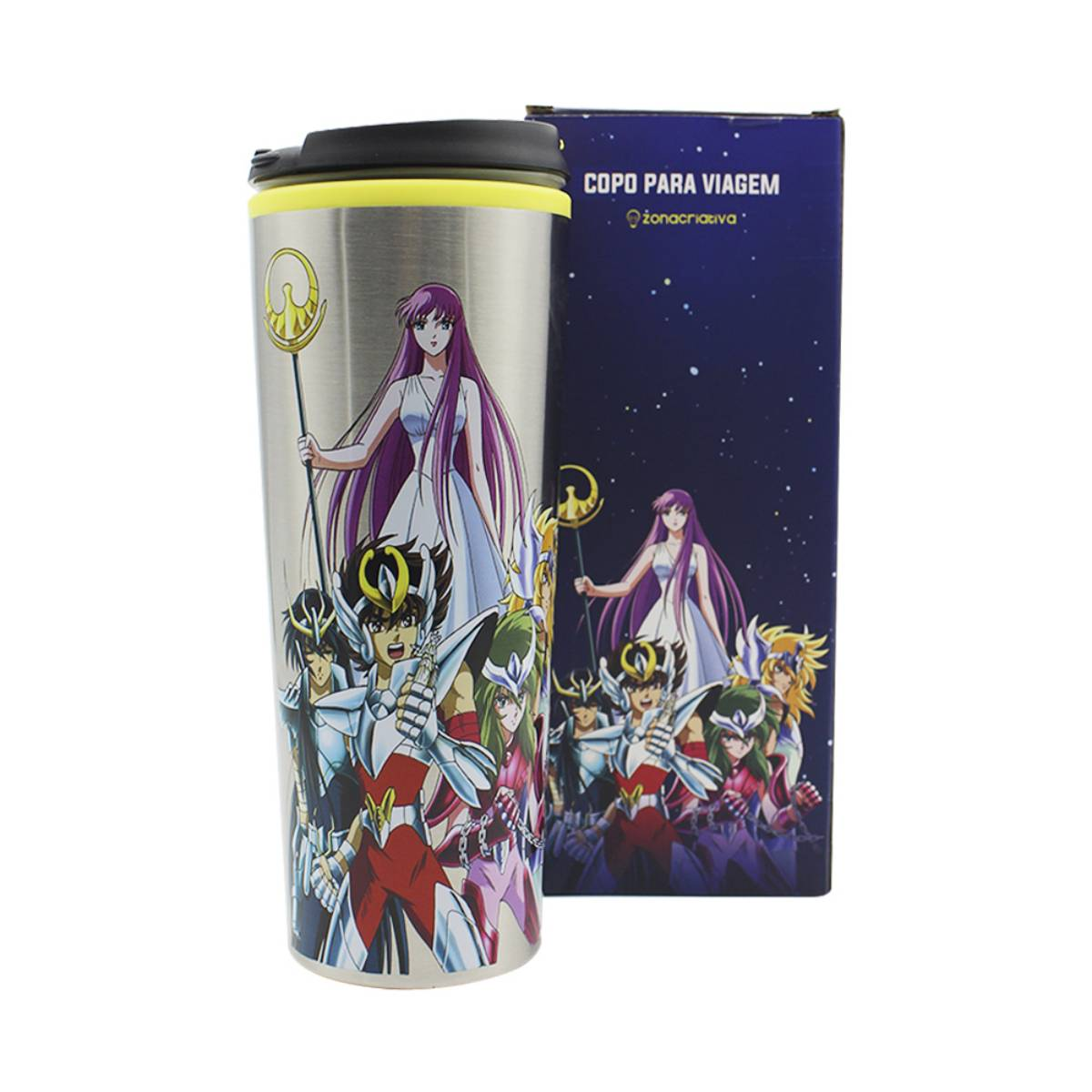 Copo Viagem Os Cavaleiros do Zodíaco Athena Personagens Mangá Anime