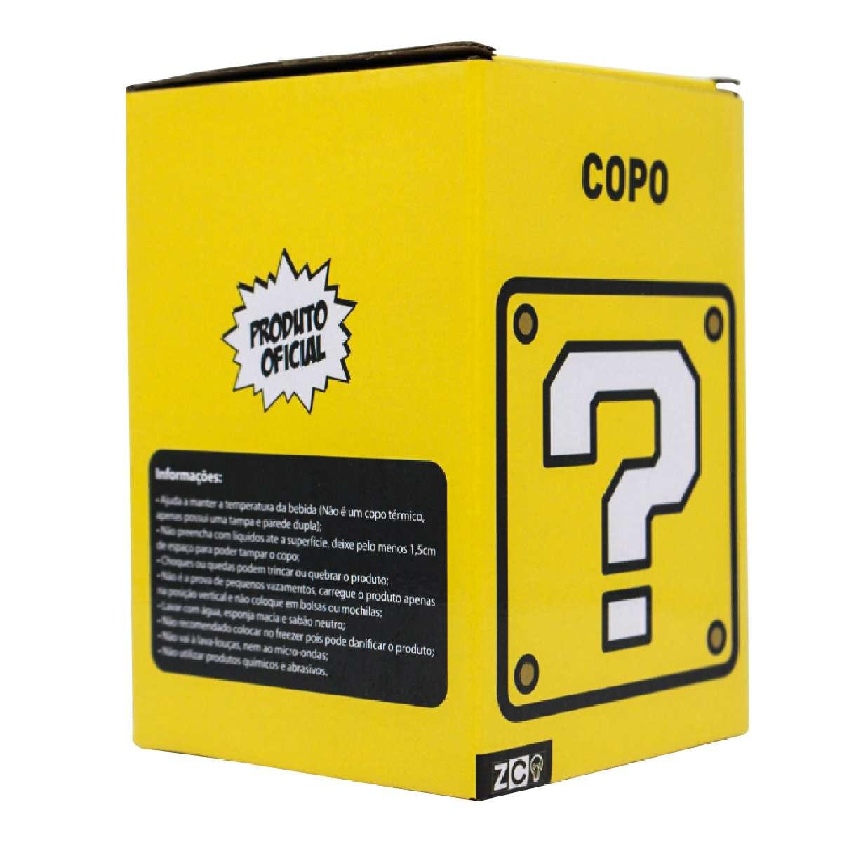 Copo Viagem Cubo Interrogação Super Mario Bros Nintendo