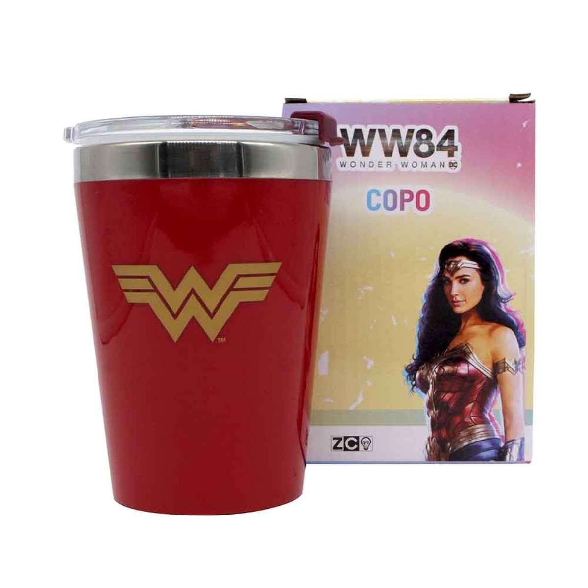 Copo Viagem Mulher Maravilha Logo DC Comics