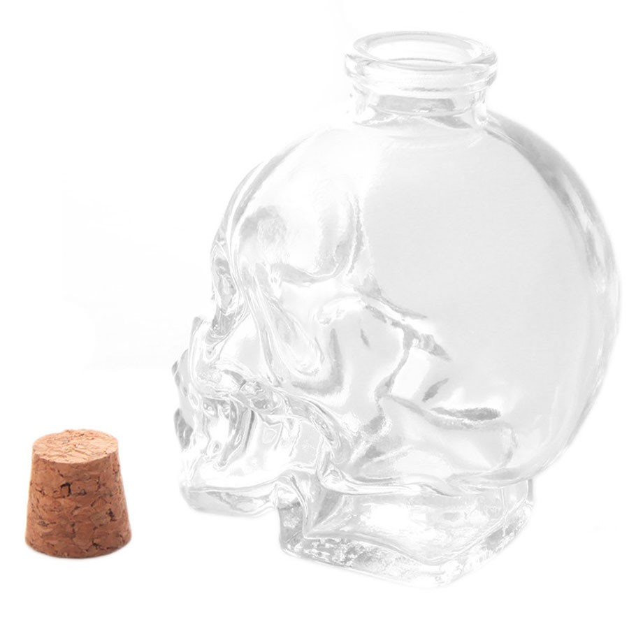 Garrafa Caveira de Vidro Crânio Bebida Skull
