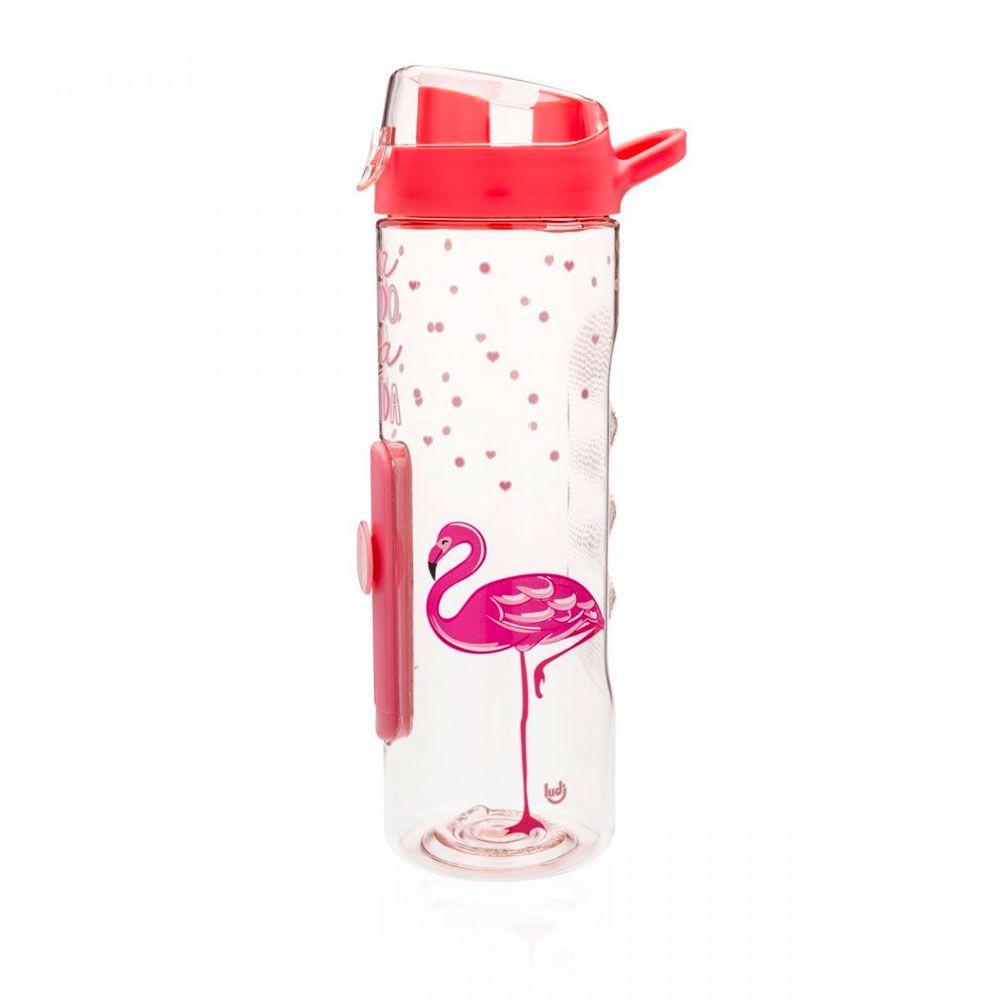 Garrafa com Medidor Flamingos - Viva o Lado Rosa da Vida
