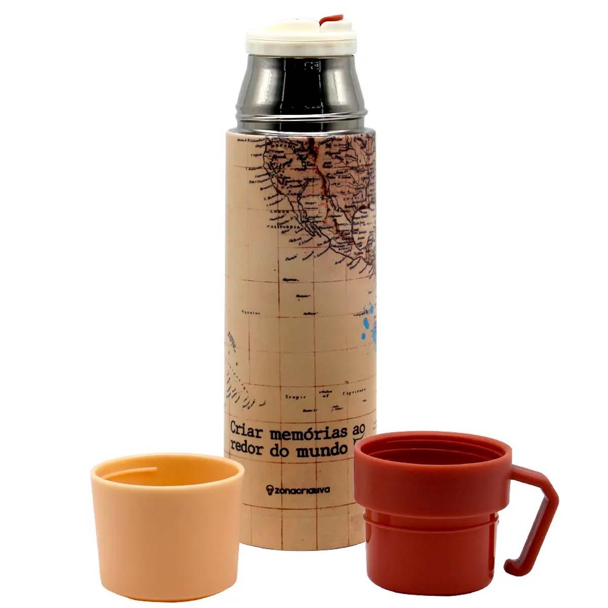 Garrafa com xícara viagem - Mapa Mundi