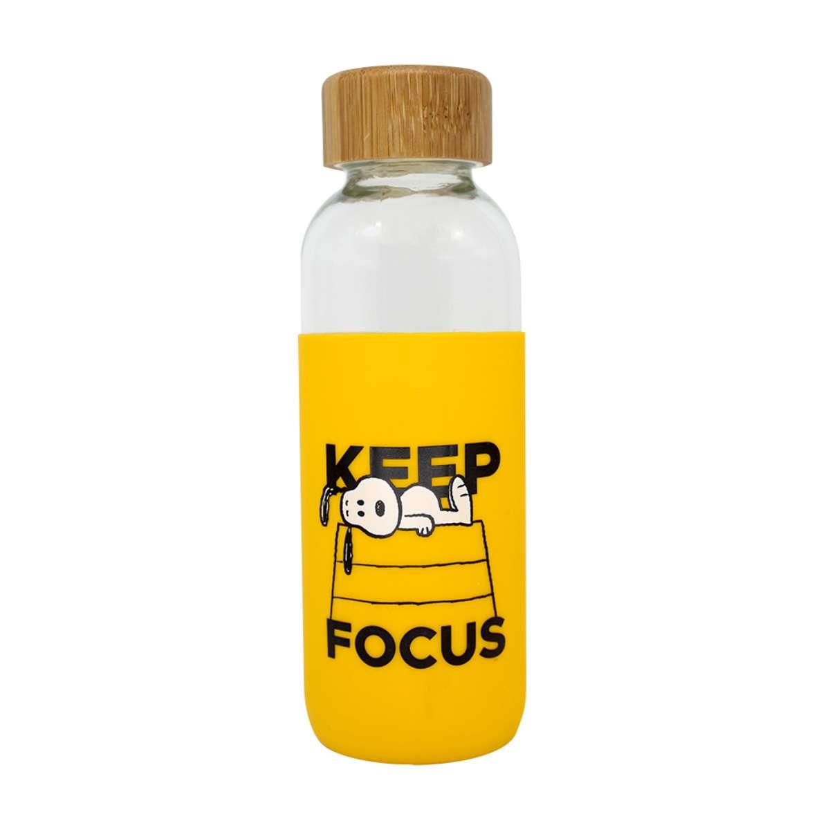 Garrafa de Vidro Snoopy Charlie Brown Keep Focus Mantenha o Foco