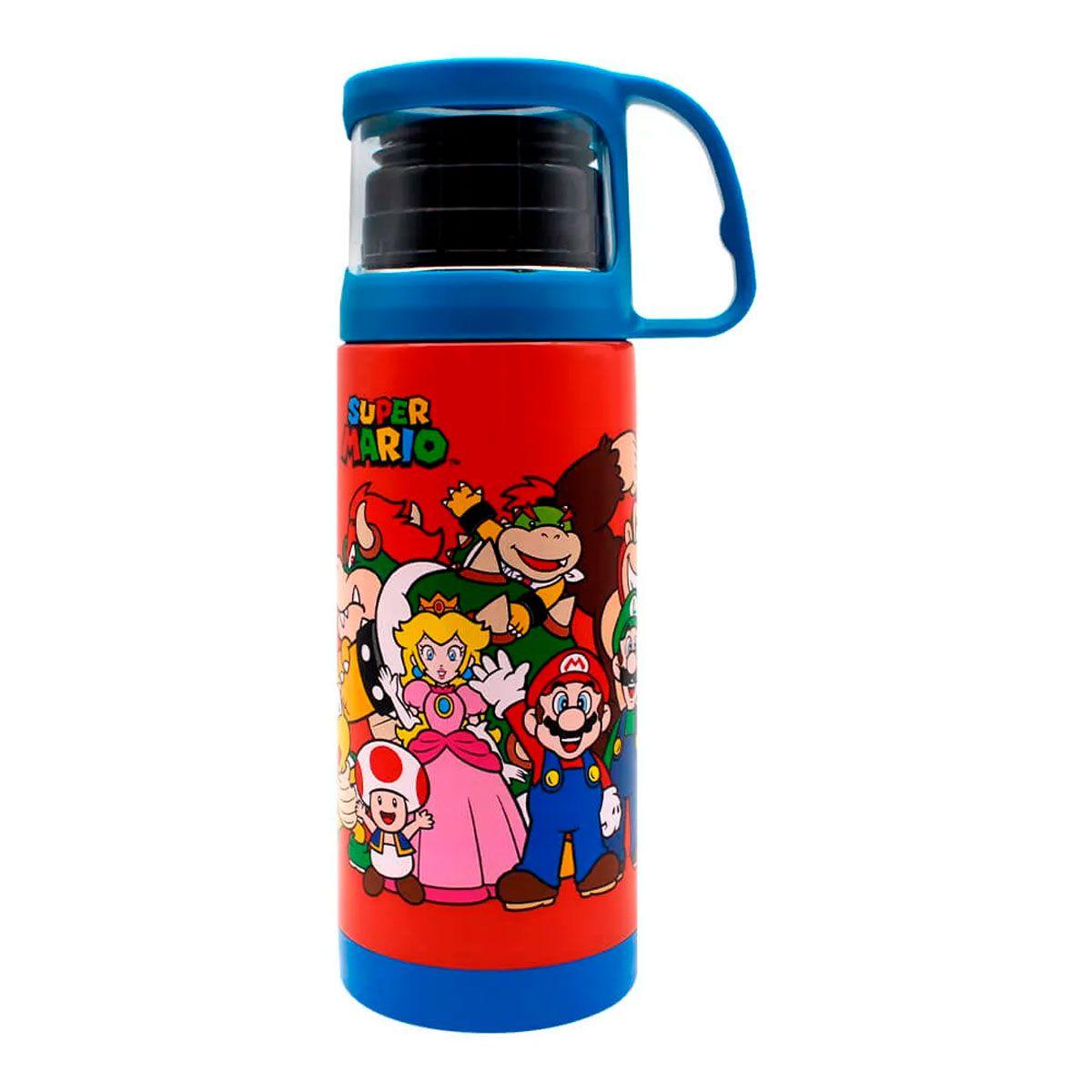 Garrafa Térmica 350 ml com Xícara Super Mario Turma