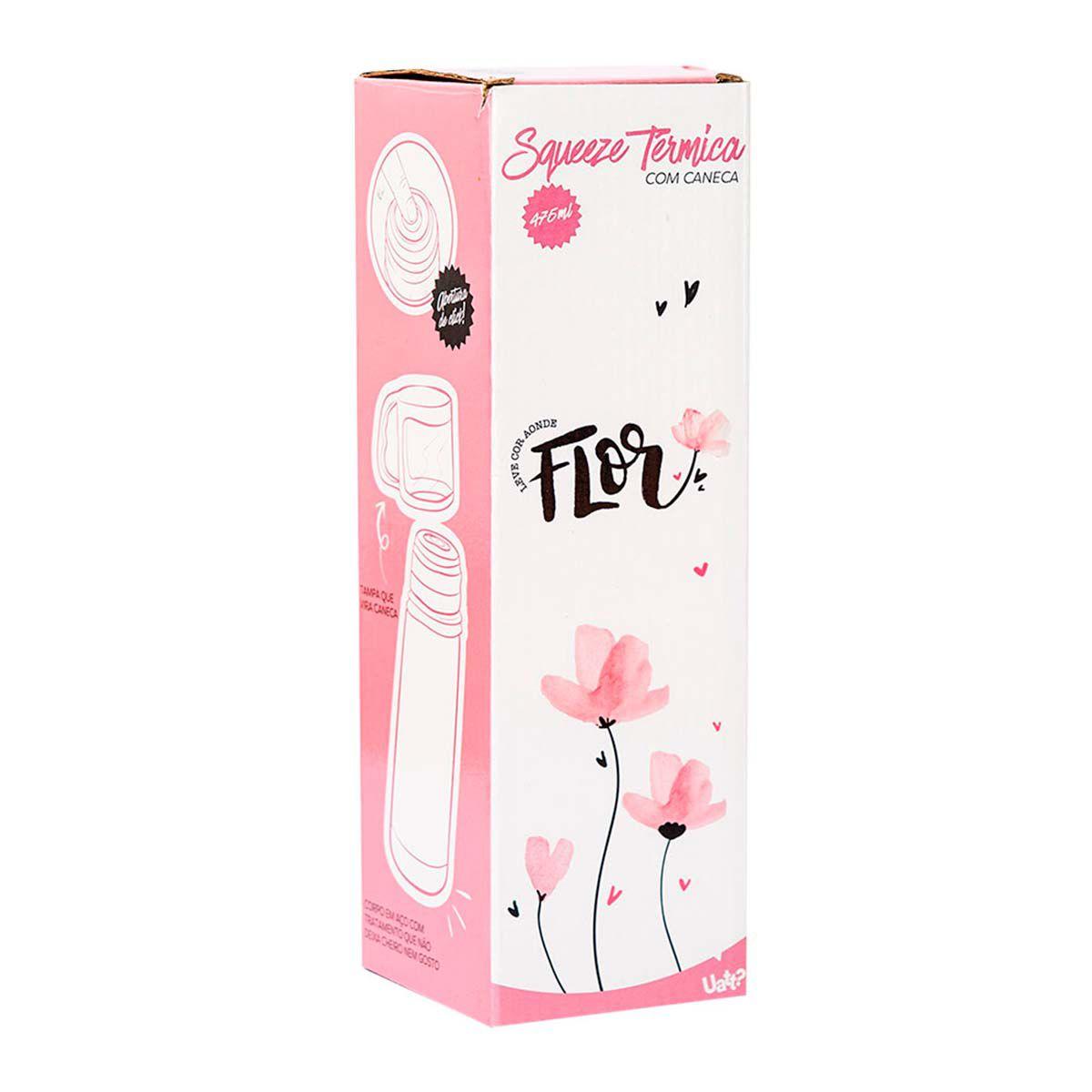 Garrafa Térmica 475 ml com Caneca - Flor