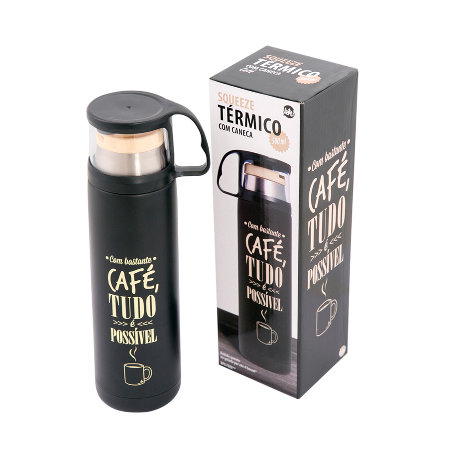 Garrafa Térmica 500 ml com Caneca - Café