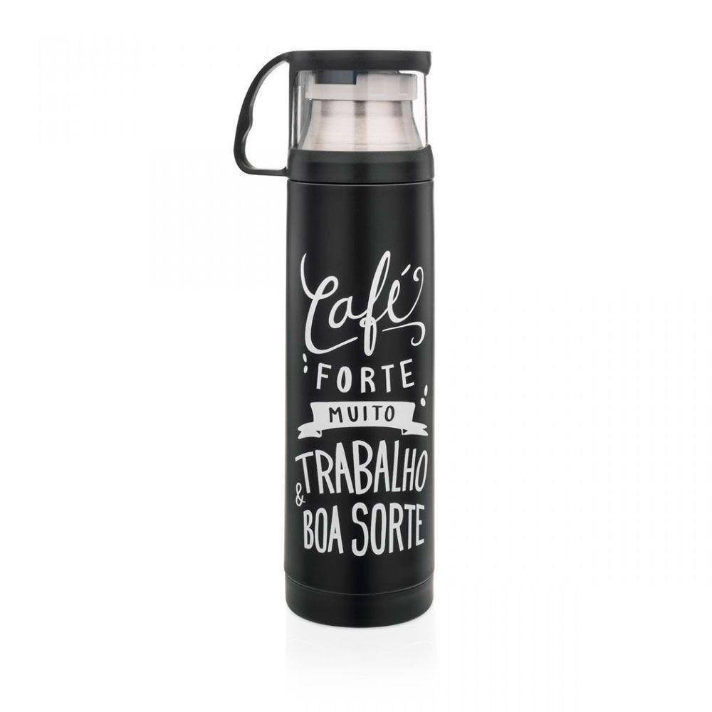 Garrafa Térmica 500 ml com Caneca - Café Forte