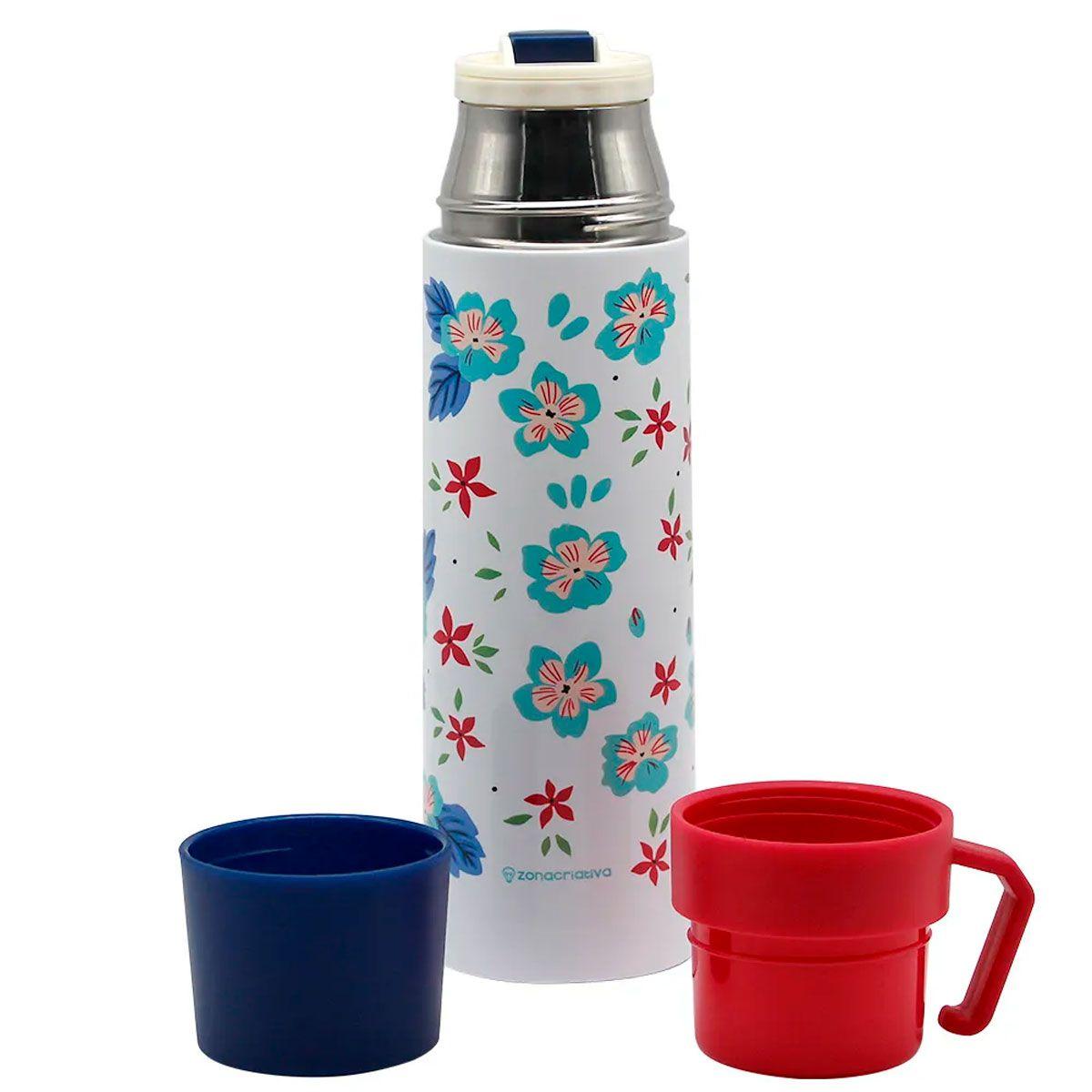 Garrafa Térmica 500 ml com Caneca Floral