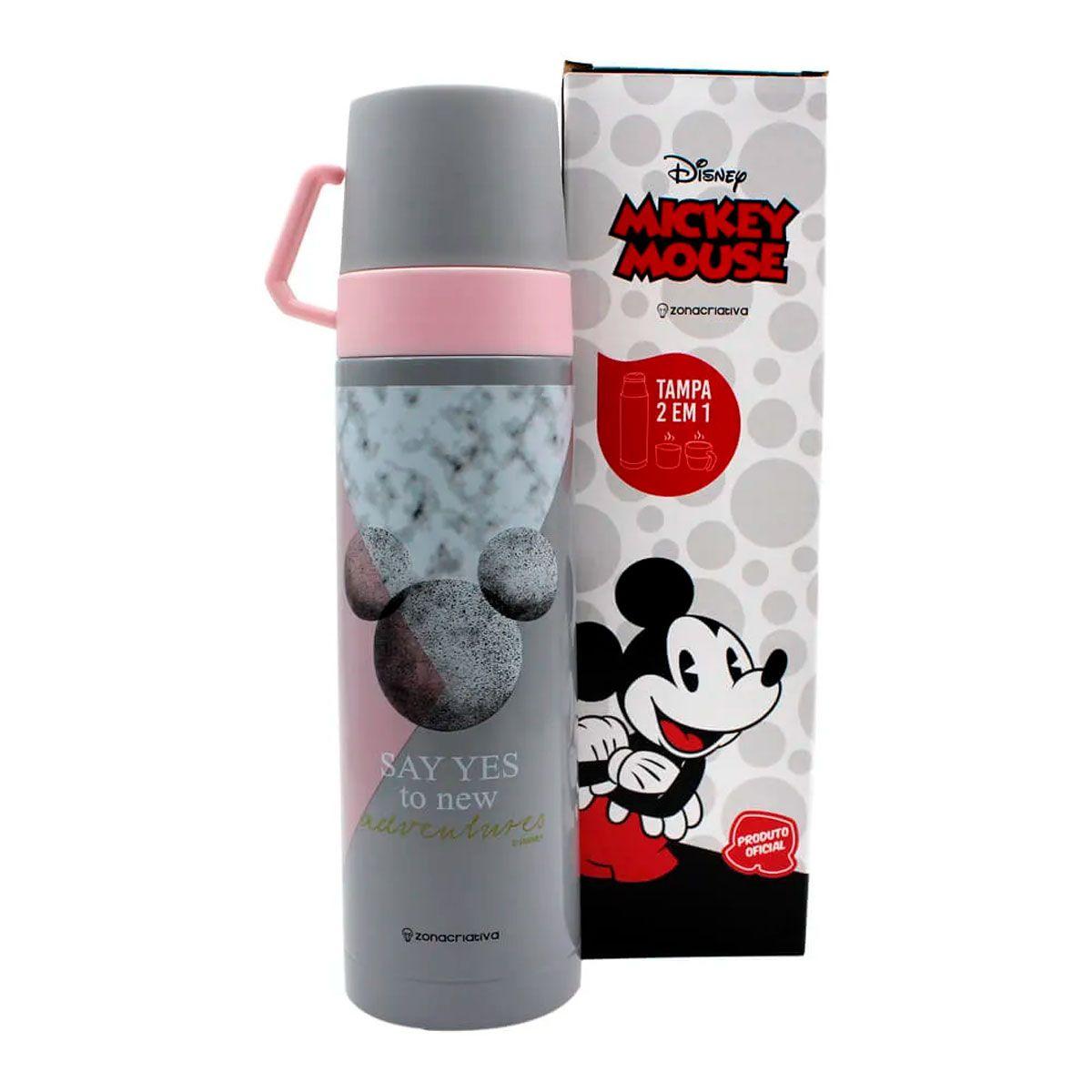 Garrafa Térmica 500 ml com Caneca Mickey Mármore