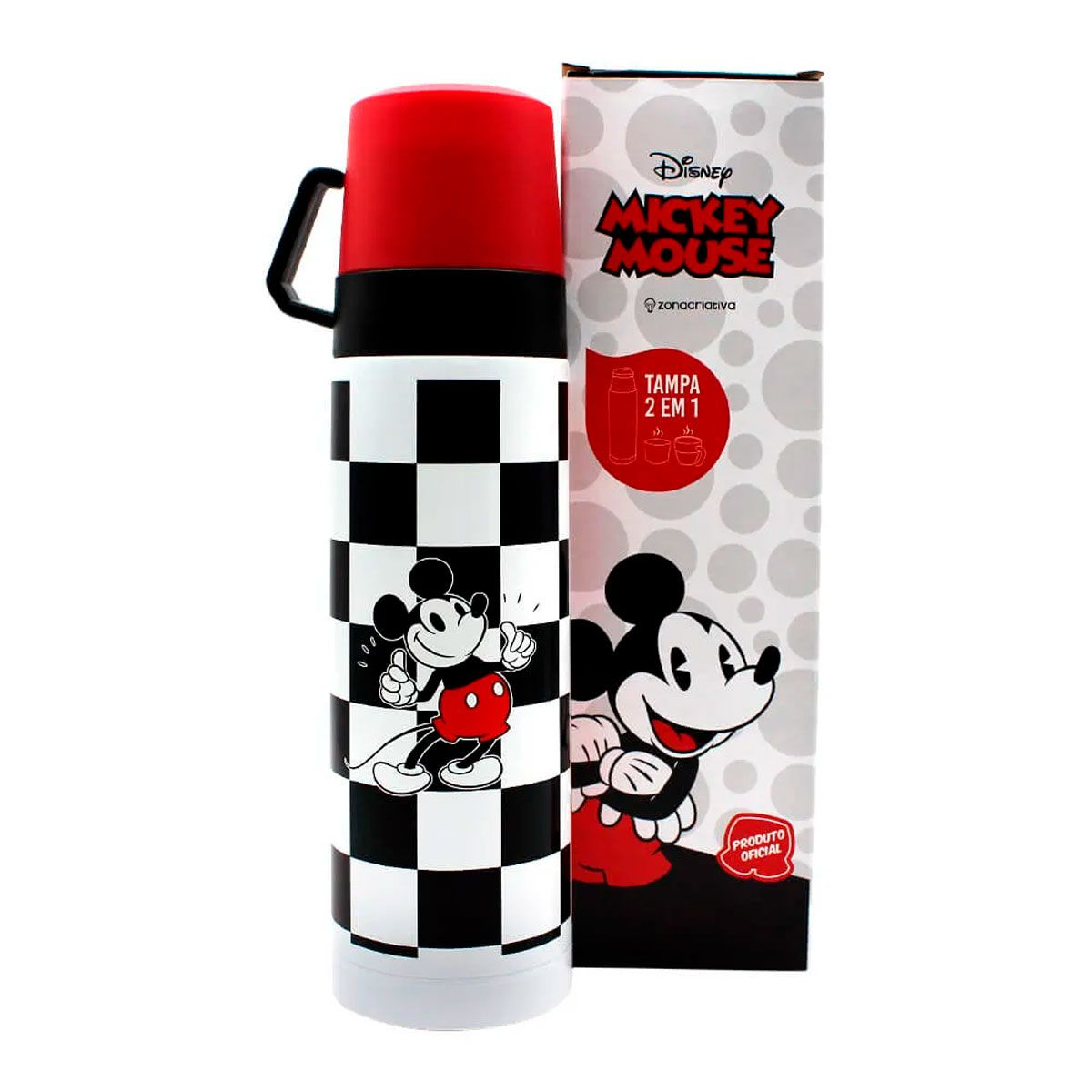 Garrafa Térmica 500 ml com Caneca Mickey Xadrez