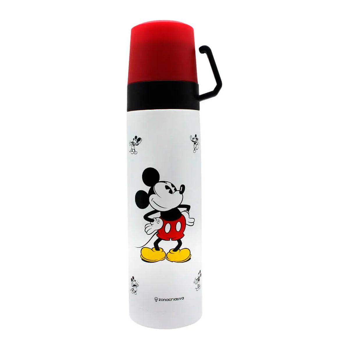 Garrafa Térmica 500 ml com Caneca Mickey Xadrez FBA