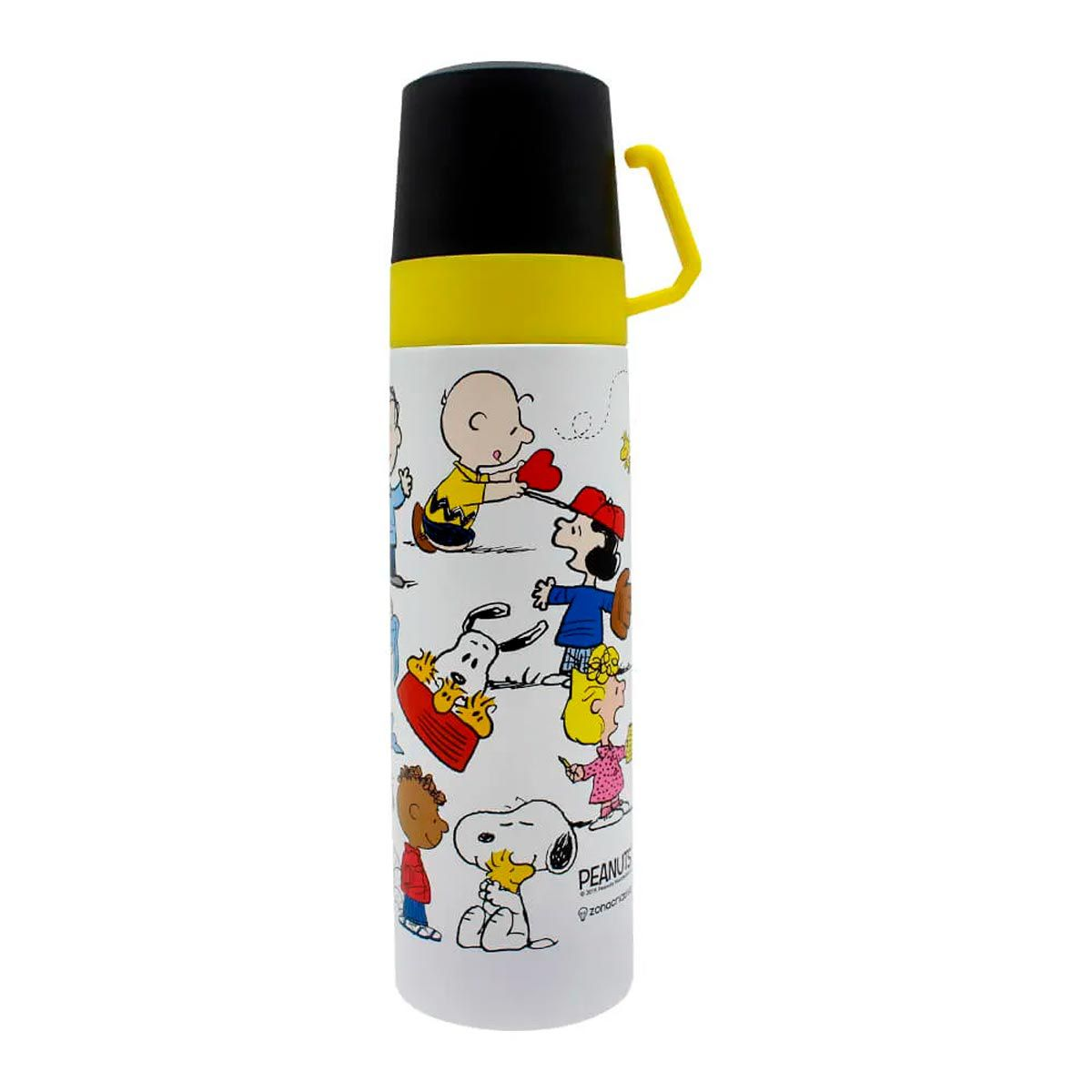 Garrafa Térmica 500 ml com Caneca Turma Snoopy