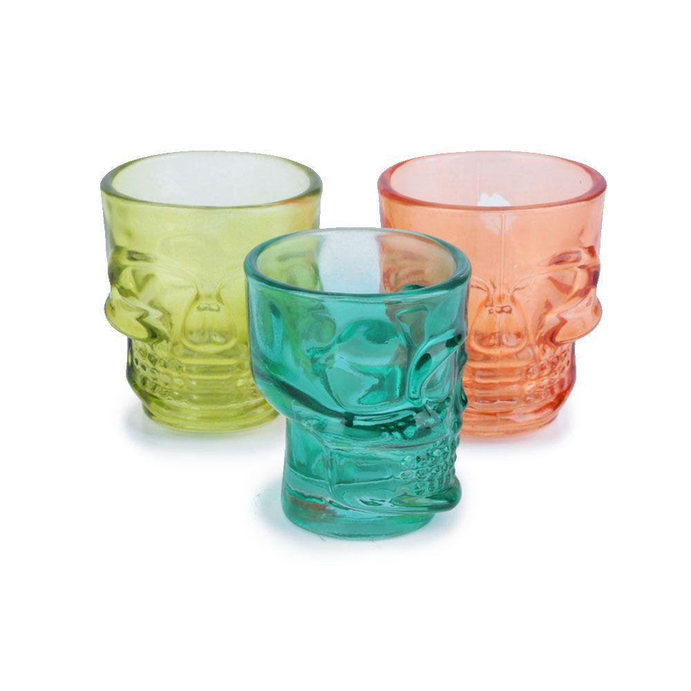 Jogo de 3 Copos de Dose Skull Colors 50 ml - Caveira