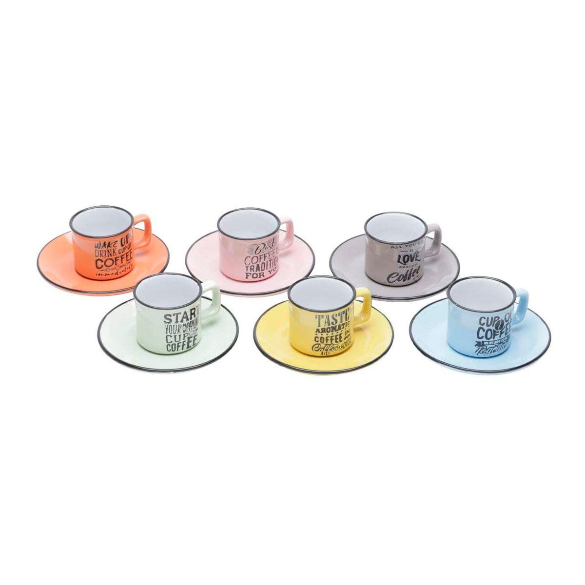 Jogo de Xícaras Café Porcelana com Pires Words Coloridas