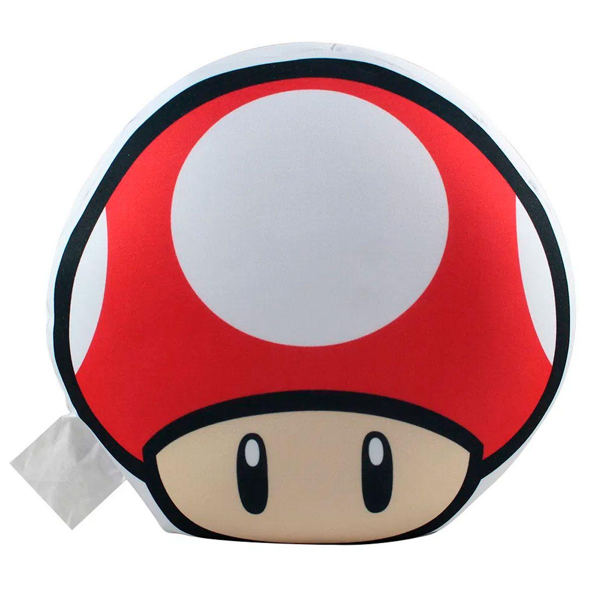 Kit 2 Almofada Cogumelo Super Mario Verde e Vermelha