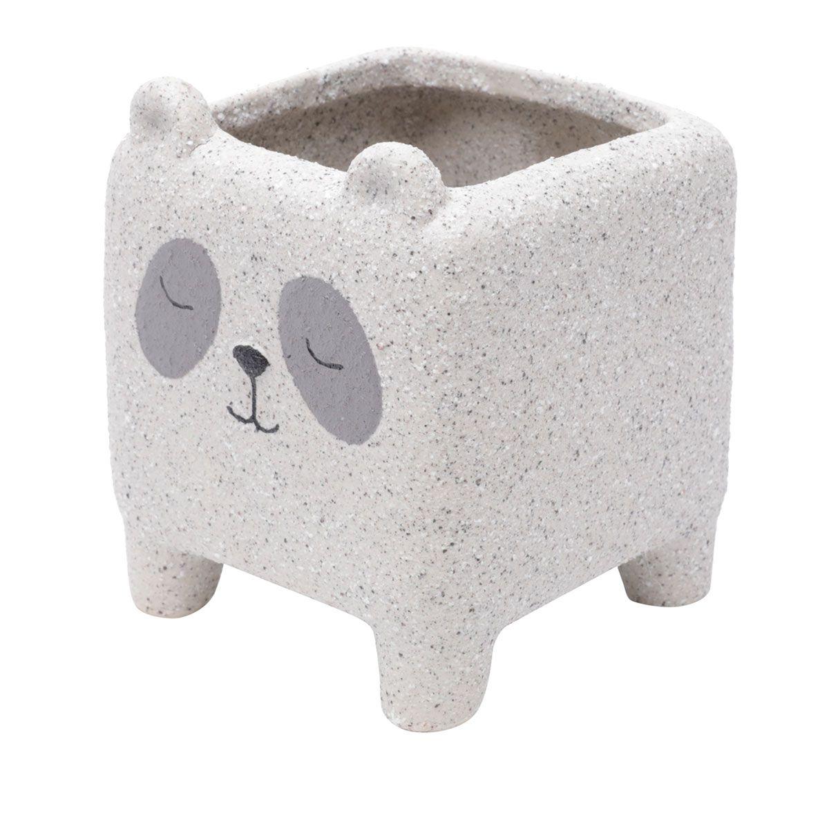 Kit 2 Cachepot Concreto Vaso Decorativo Sleeping Dog e Panda