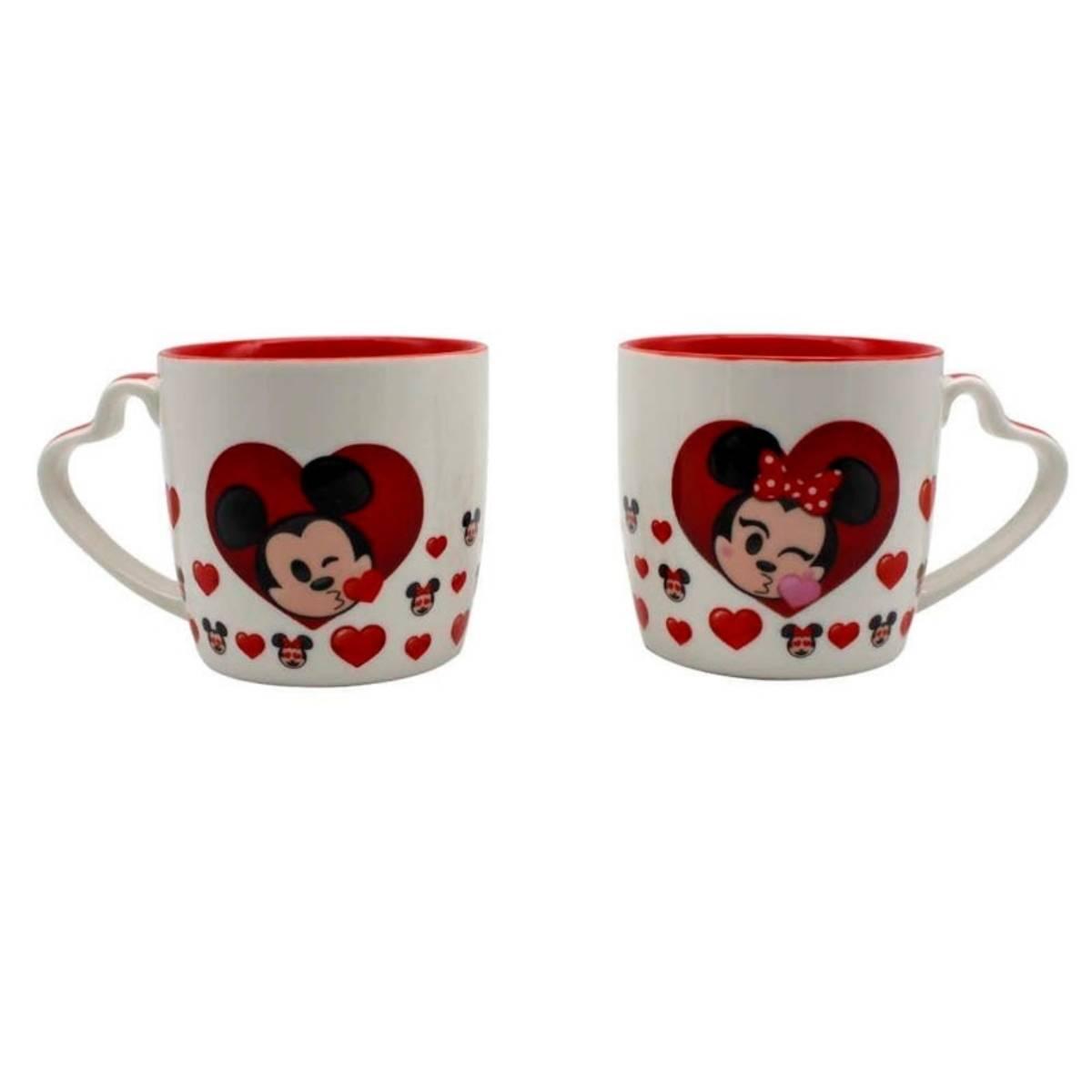 Kit 2 Canecas Mickey e Minnie Emoji Corações Disney