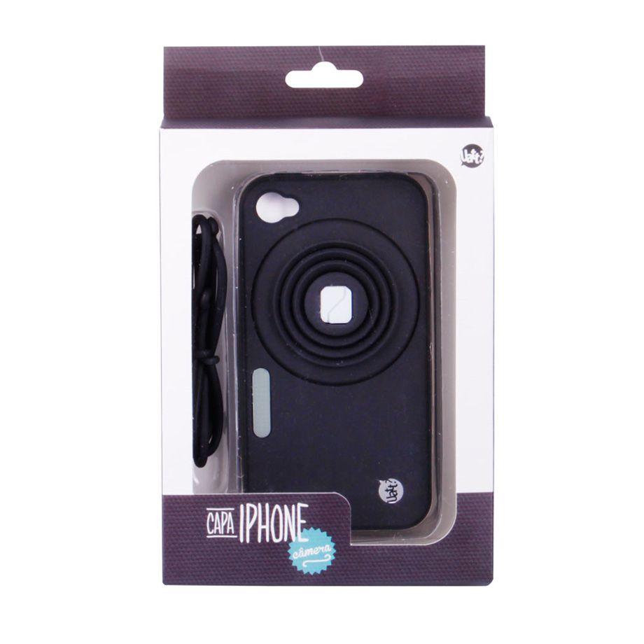 Kit 2 Capas Celular Iphone 4 ou 4S Câmera Rosa e Preto com Apoio