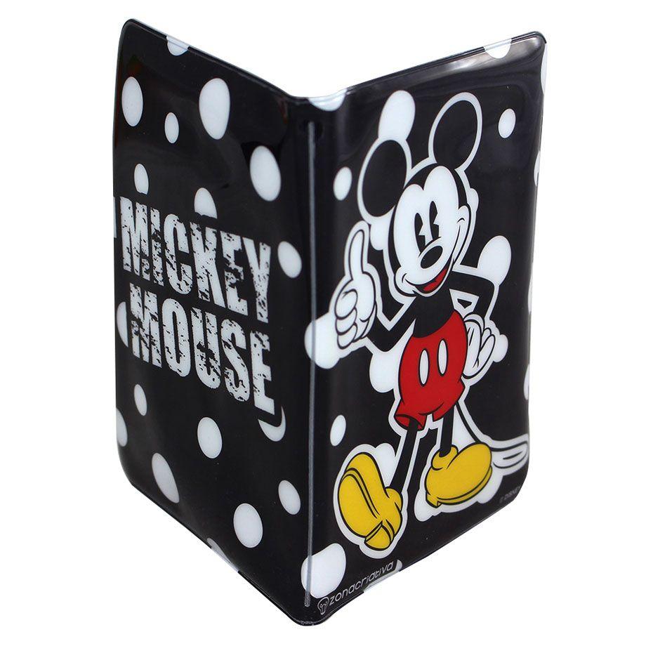 Kit 2 Porta Passaporte e Tag de Mala Mickey e Minnie Poá