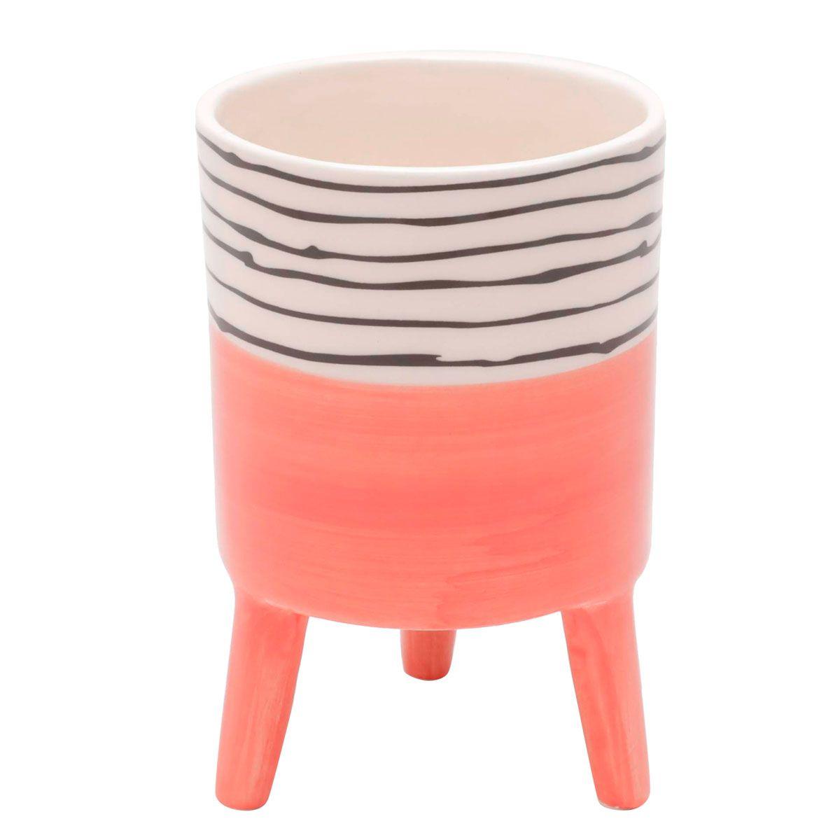 Kit 2 Vasos Cachepot de Cerâmica Bright Colors Salmão