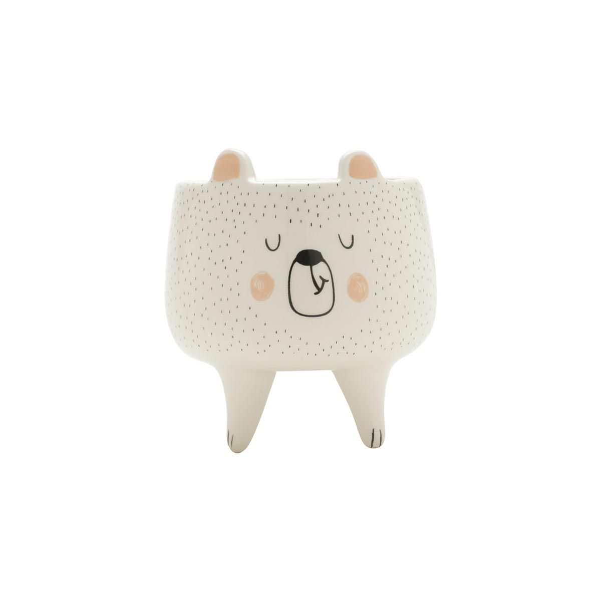 Kit 3 Cachepots Pequenos Vaso Sleeping Bear Fox e Owl - Urso Raposa e Coruja