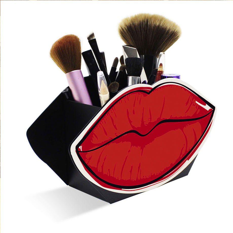 Kit 3 Organizadores Porta Maquiagem Bocas Rosa, Pink e Vermelha