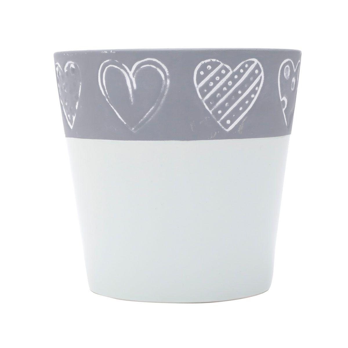 Kit 3 Vasos Concreto Decorativo Coração 1 Oval e 2 Redondo