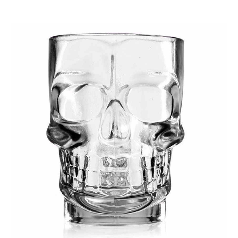 Kit 4 Canecas Caveira Vidro 510ml Skull Chopp Cristal Rock