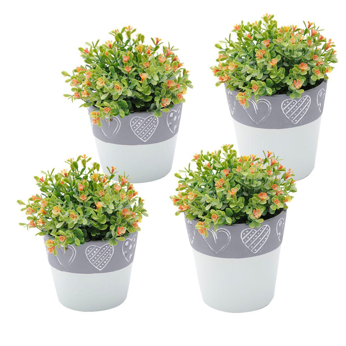 Kit 4 Vasos Concreto Decorativo Coração Verde e Cinza 2 Grande e 2 Médio