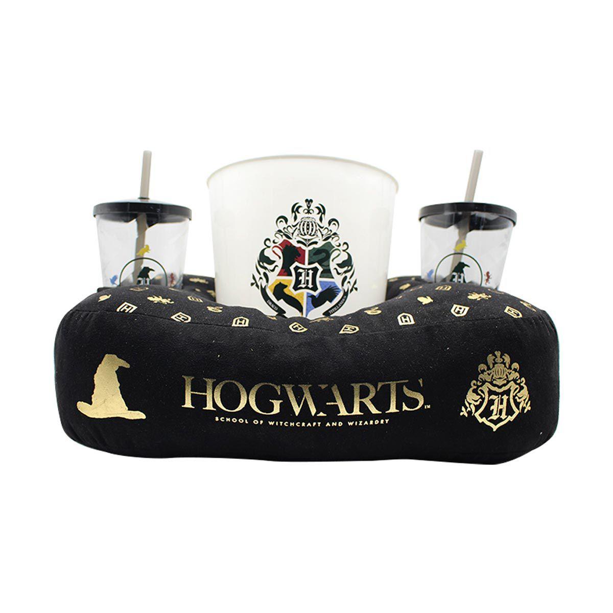 Kit Almofada Porta Pipoca Harry Potter Hogwarts