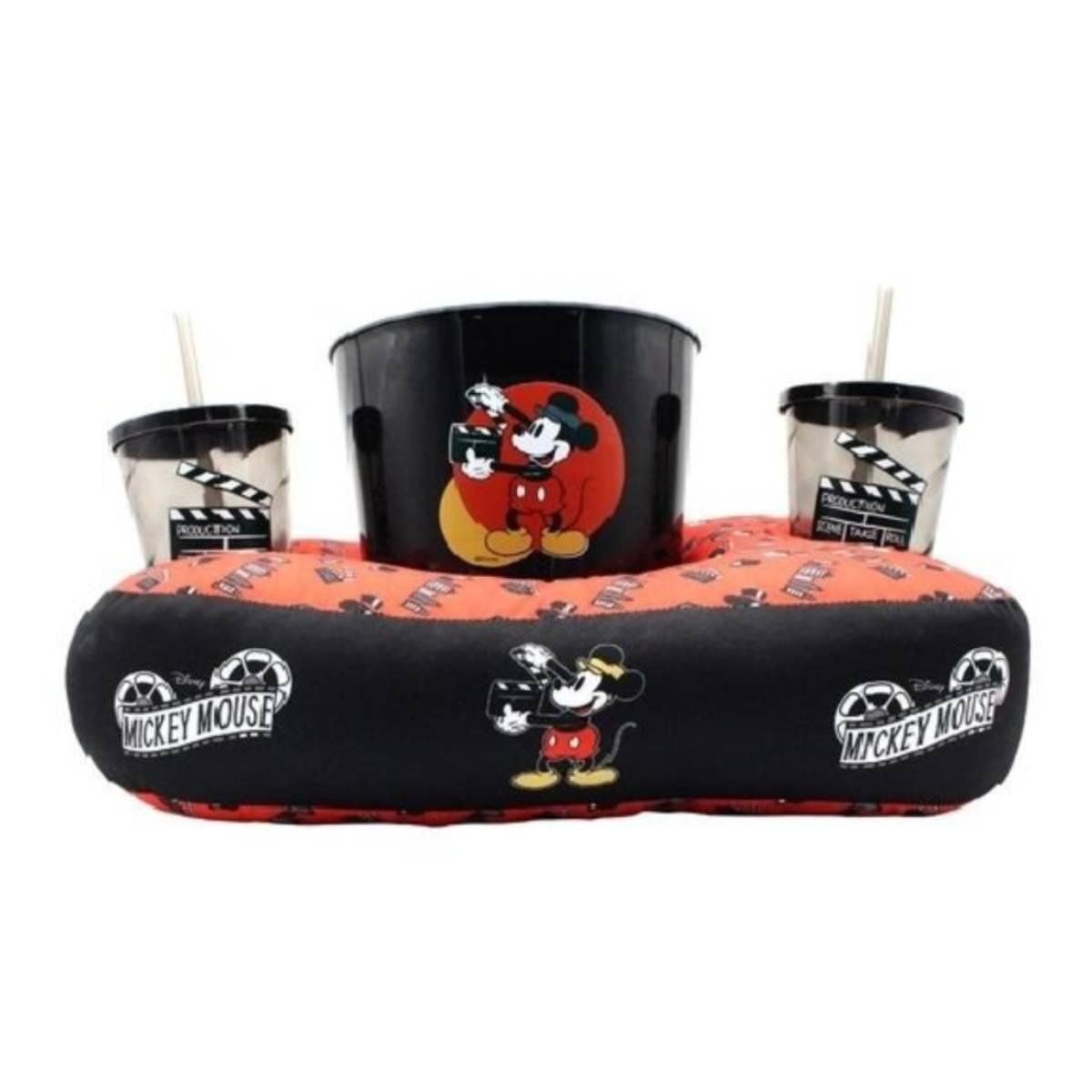 Kit Almofada Porta Pipoca Mickey Mouse Cinema Filme Disney