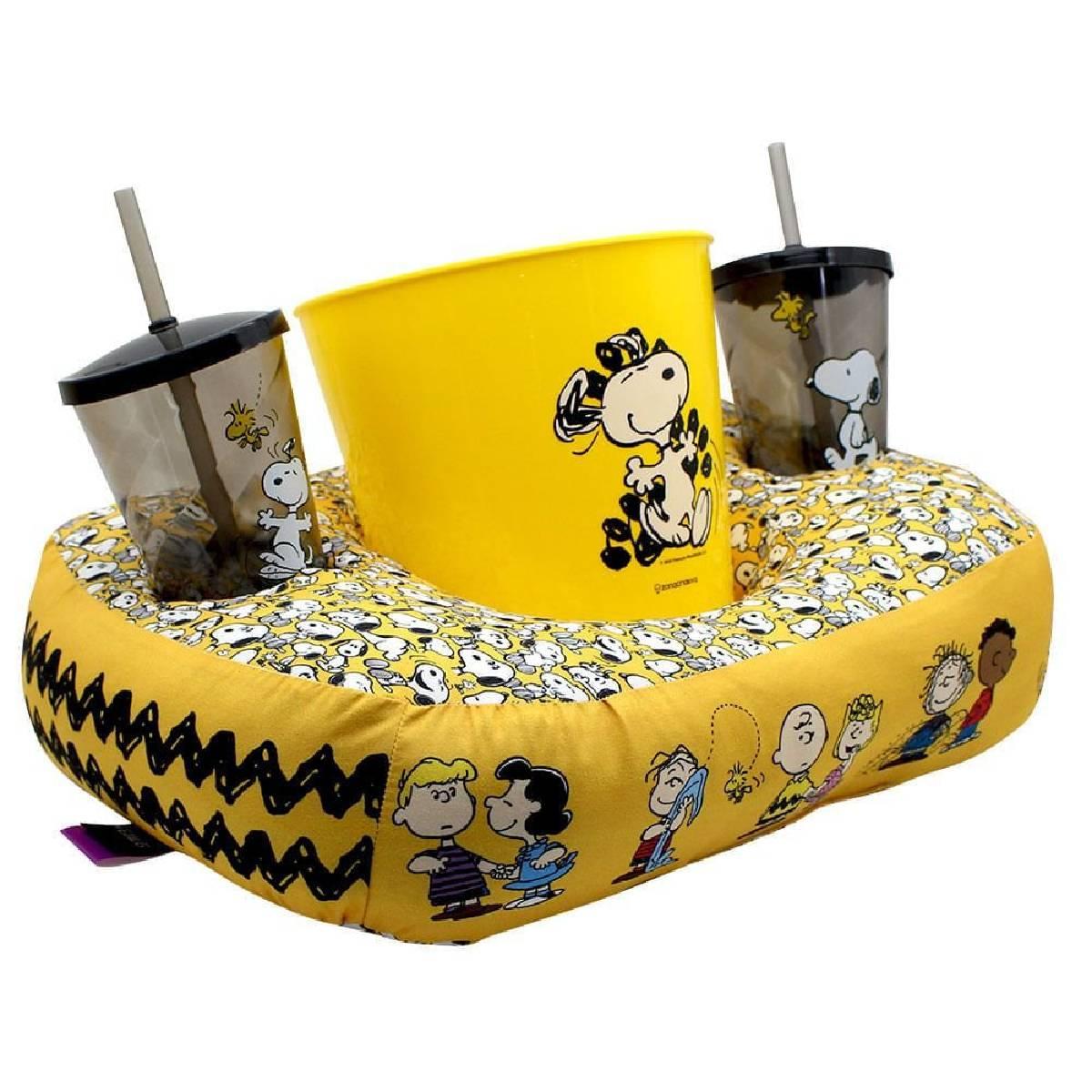 Kit Almofada Porta Pipoca Snoopy Turma do Charlie Brown