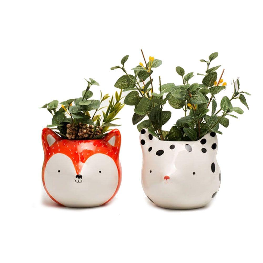 Kit Cachepots Vasos Decorativo de Cerâmica - Fox Raposas