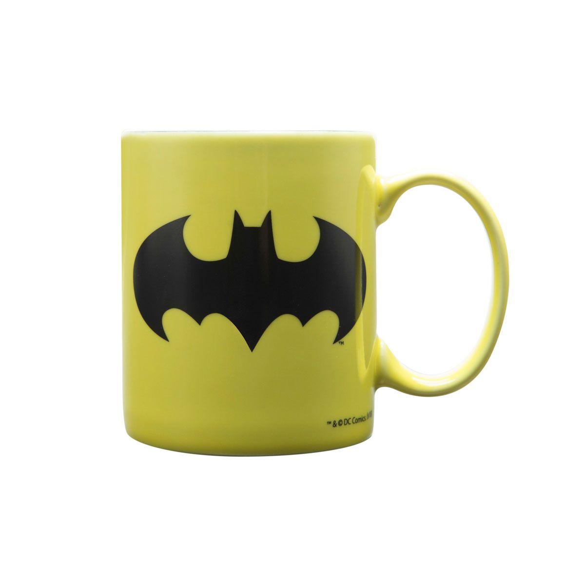 Kit Caneca e Chaveiro Batman Logo Amarelo