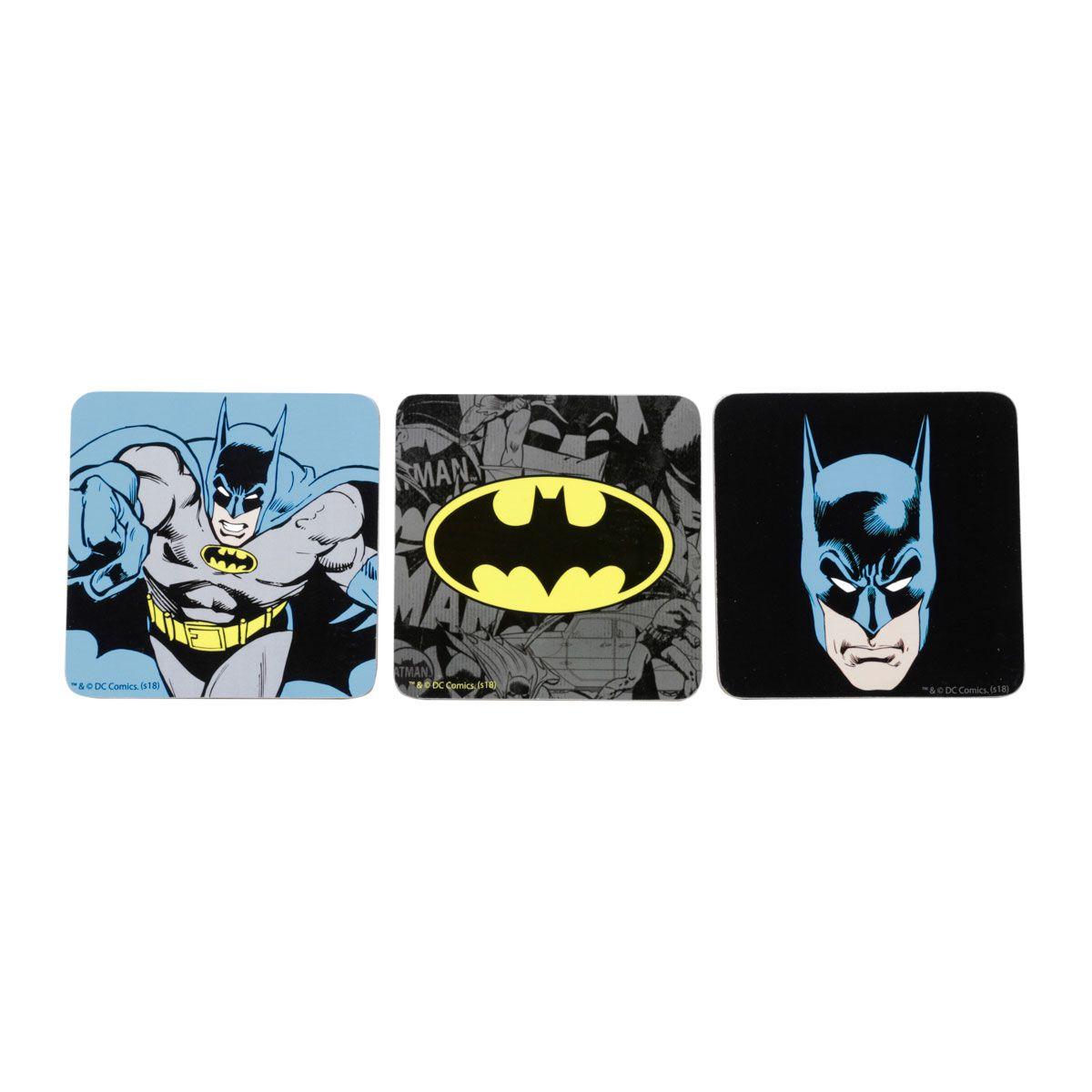 Kit Caneca e Porta Copos Batman Logo Amarelo