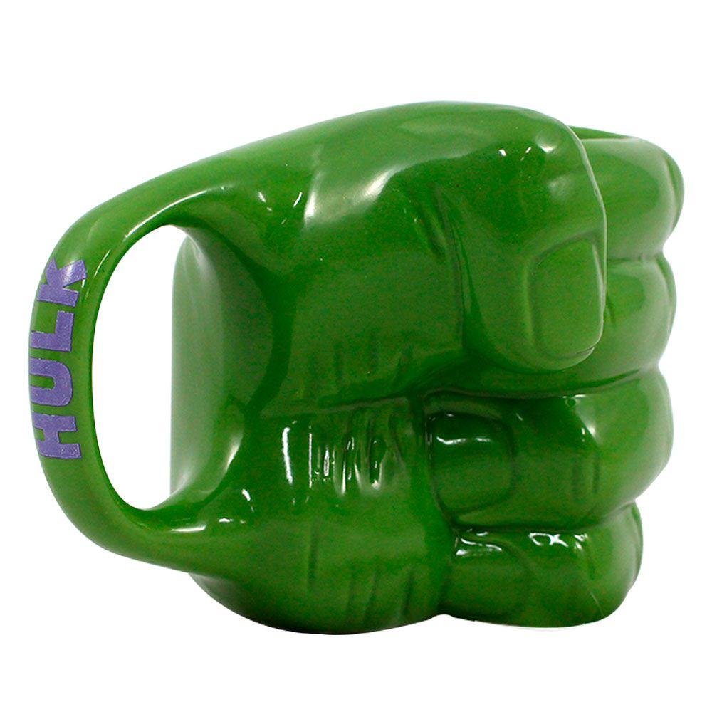 Kit Garrafa Cantil e Caneca 3D Mão Hulk e Copo Canudo Metálico Hulk