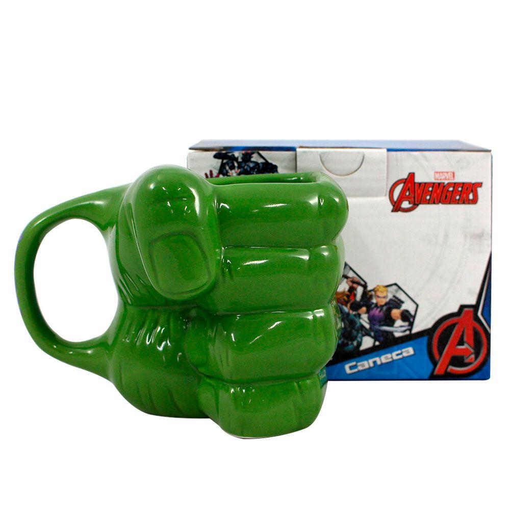 Kit Garrafa Cantil e Canecas Alça Quadrada e 3D 500 ml Hulk Marvel