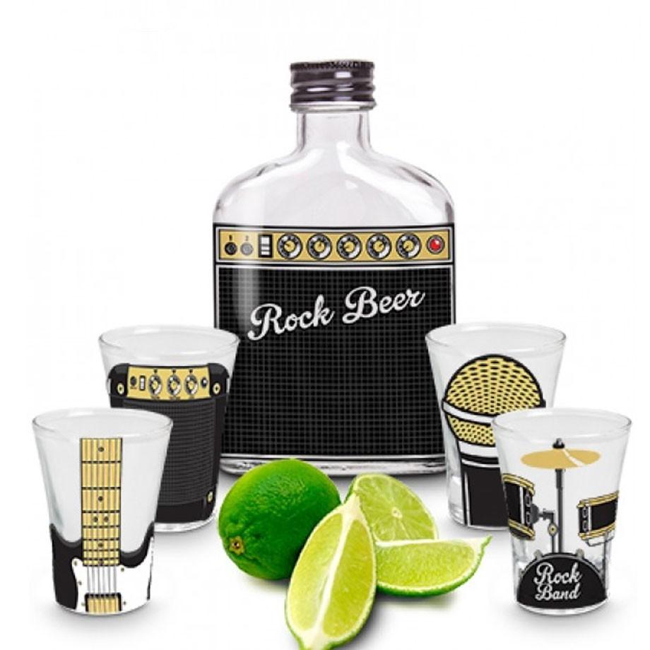 Kit Garrafa e 4 Copos Dose Shot Tequila Rock Band