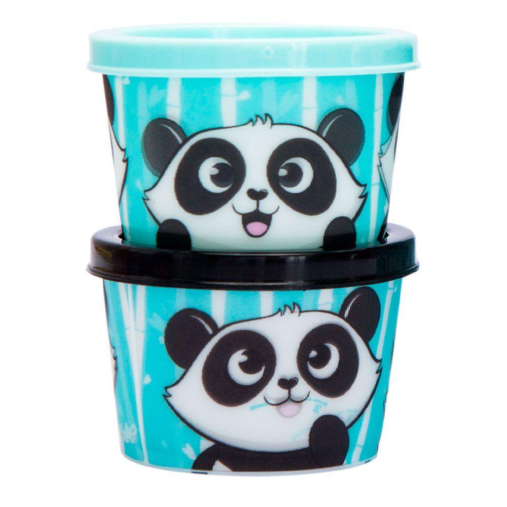 Kit Lanche Copo Canudo com Potinhos - Panda