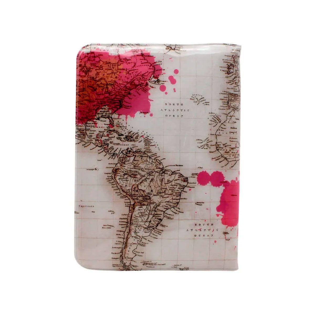 Kit Viagem Porta Passaporte e Tag de Mala Viagem Mapa Mundi