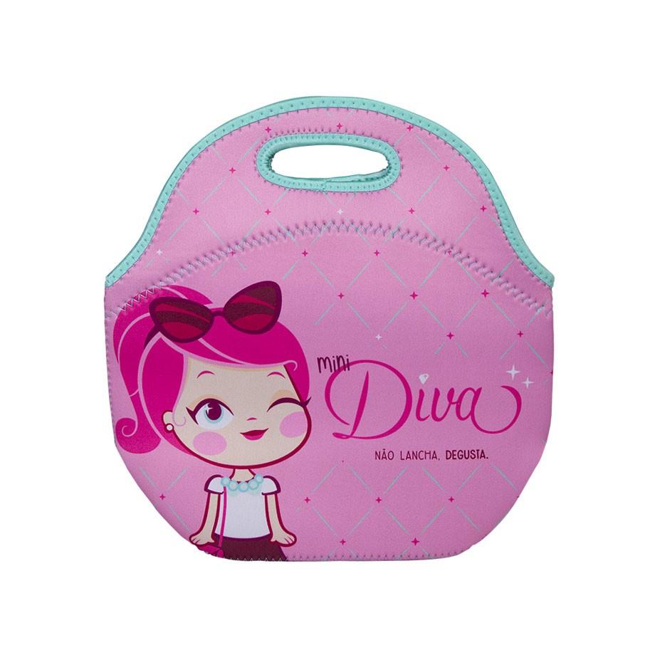 ae6267908a6552 Lancheira Bolsa Térmica de Neoprene Mini Diva - Presente Super