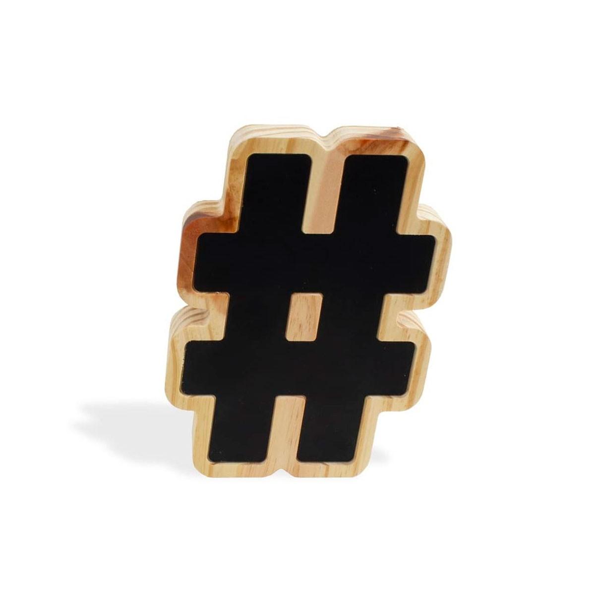 Letra Decorativa Madeira e Metal Hashtag