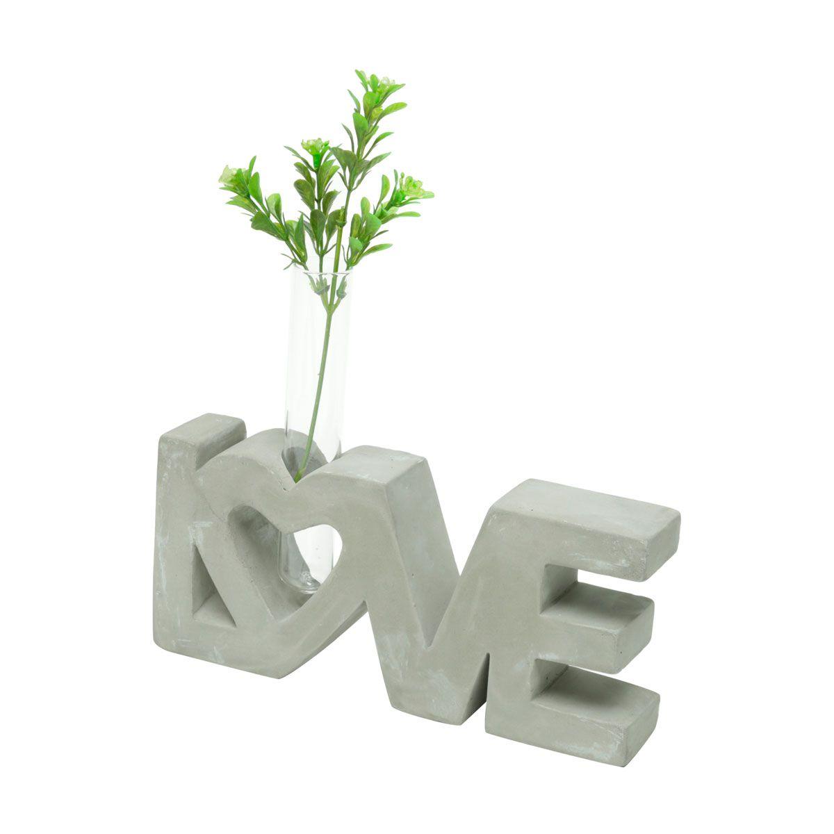 Letreiro Decorativo de Concreto com Mini Vaso Love