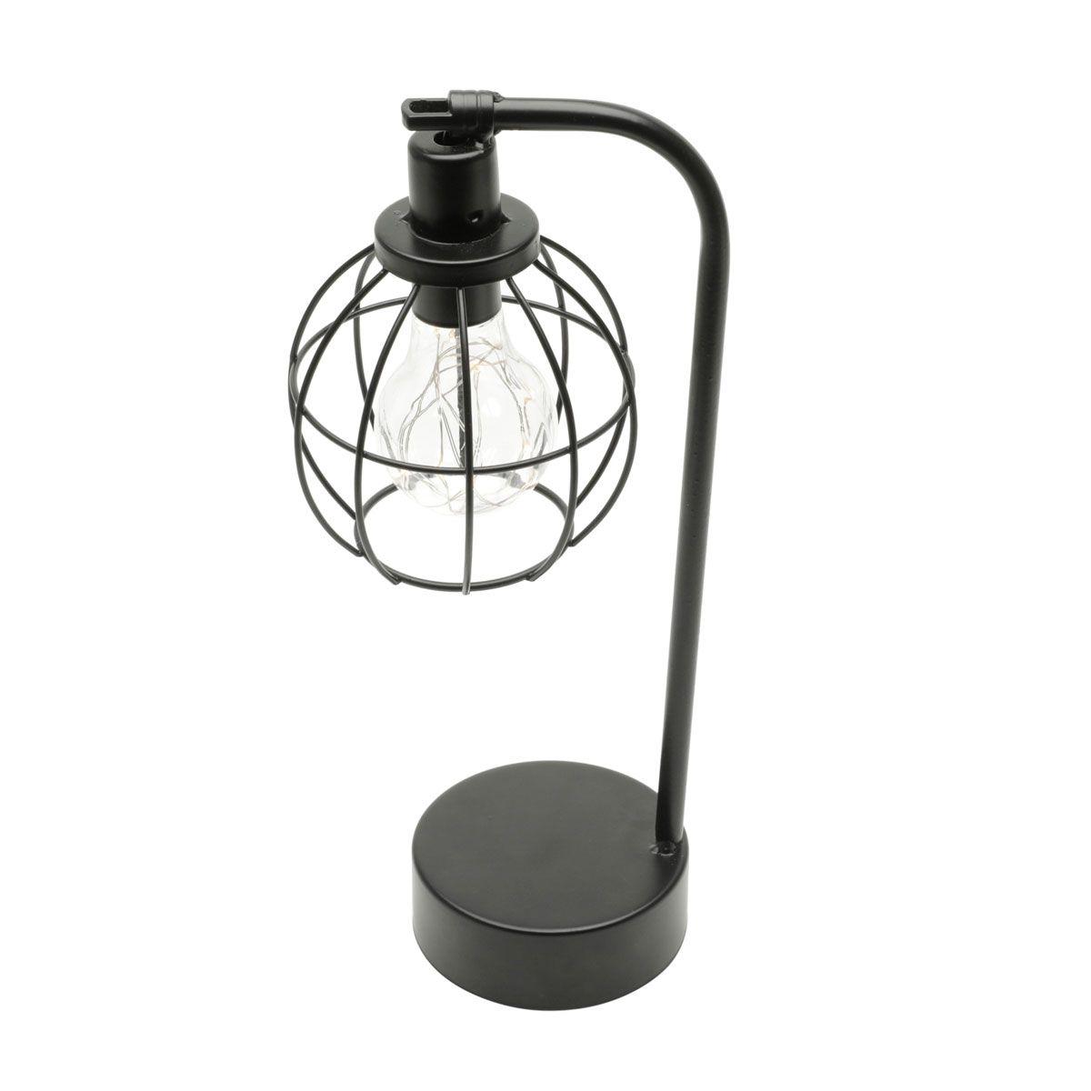 Luminária Arandela de Mesa Abajur Vintage Globo Preto