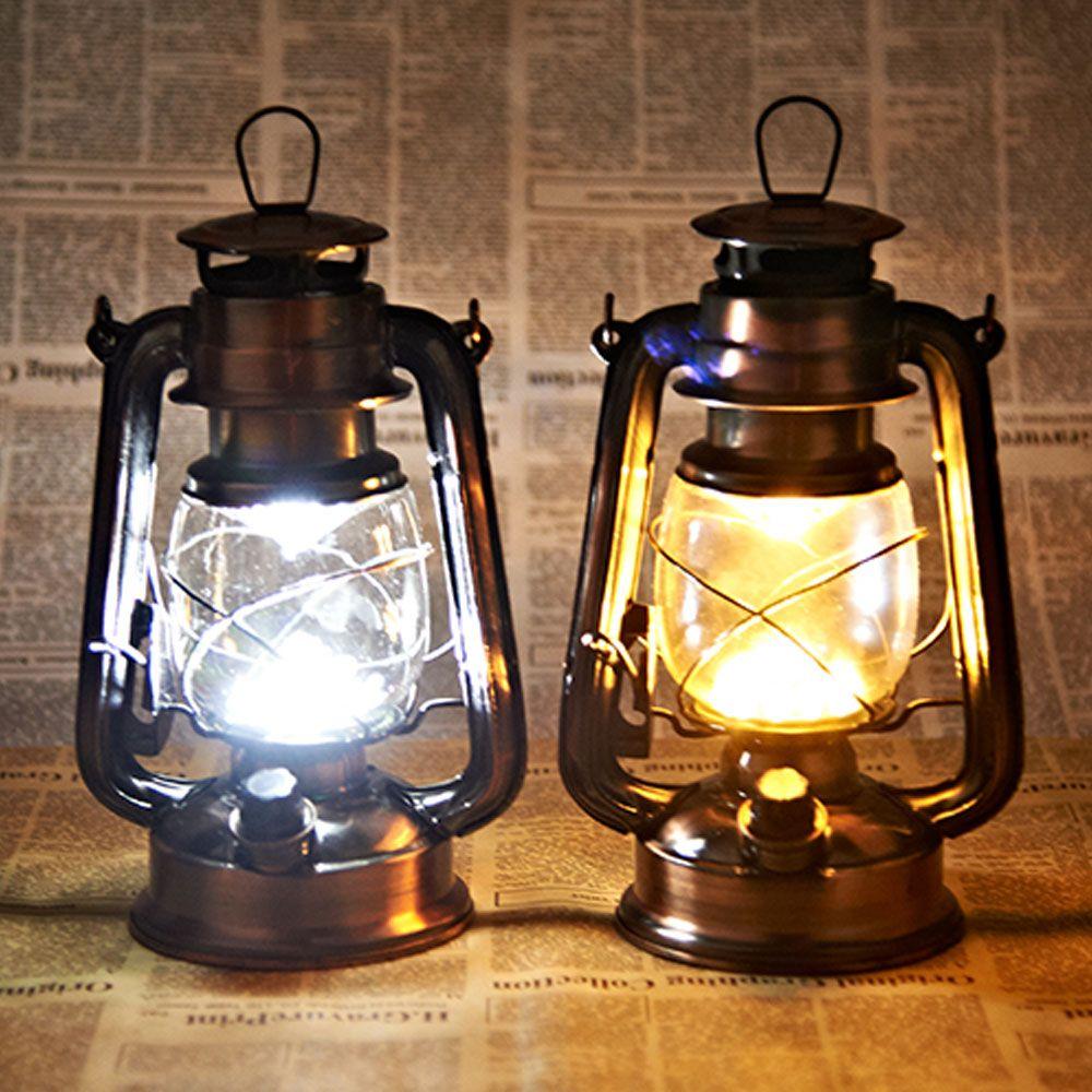 Luminária De Led Lampião Antigo Retro Cor Cobre