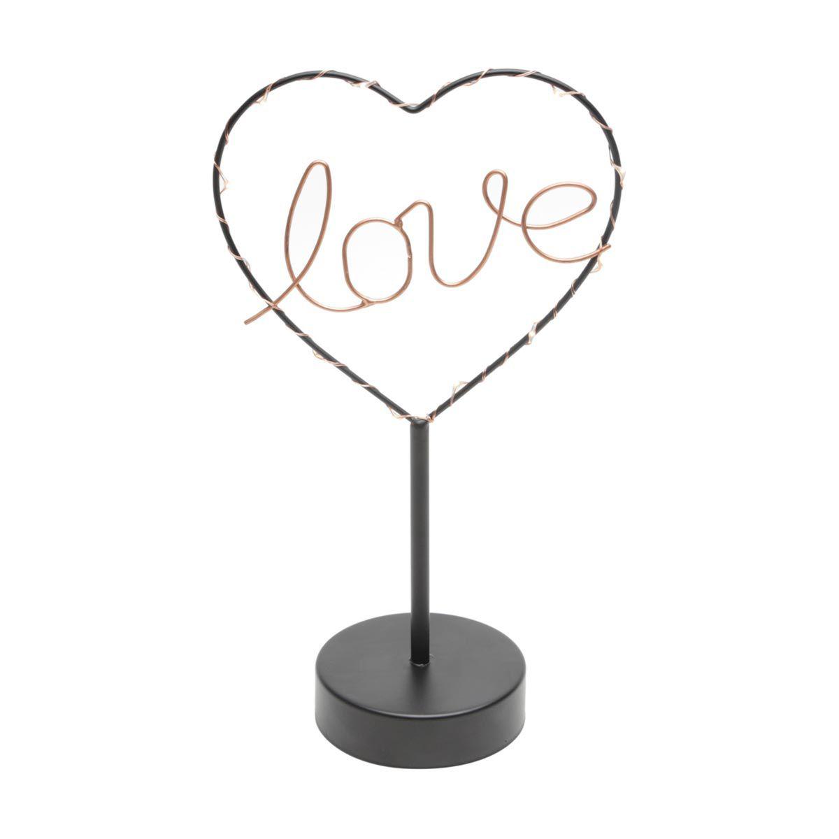 Luminária de Mesa Decorativa Led Love Heart Metal
