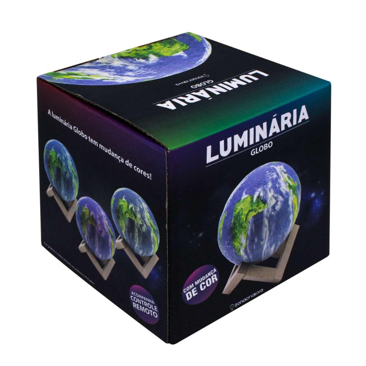 Luminária de Mesa Globo Mundo com Suporte Madeira
