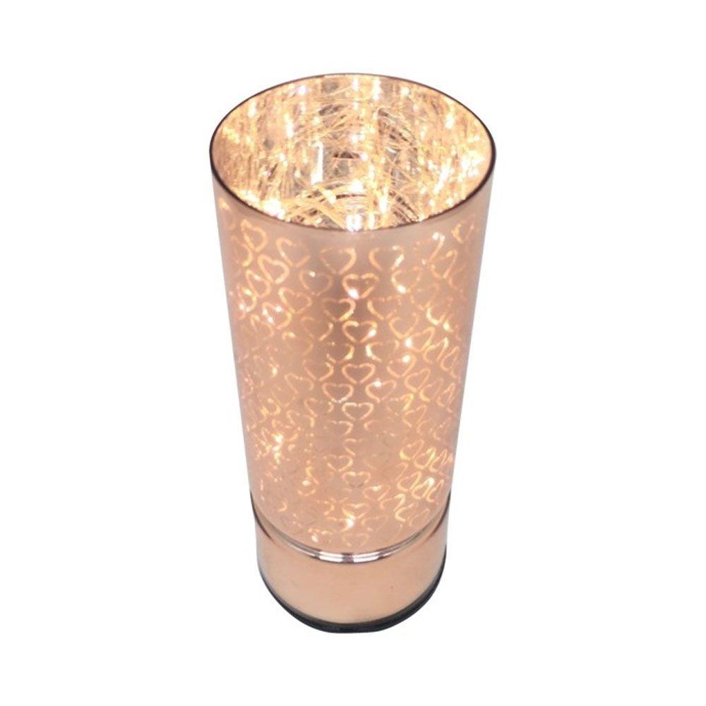 Luminária de Vidro Led Hearts Rosa Dourado P