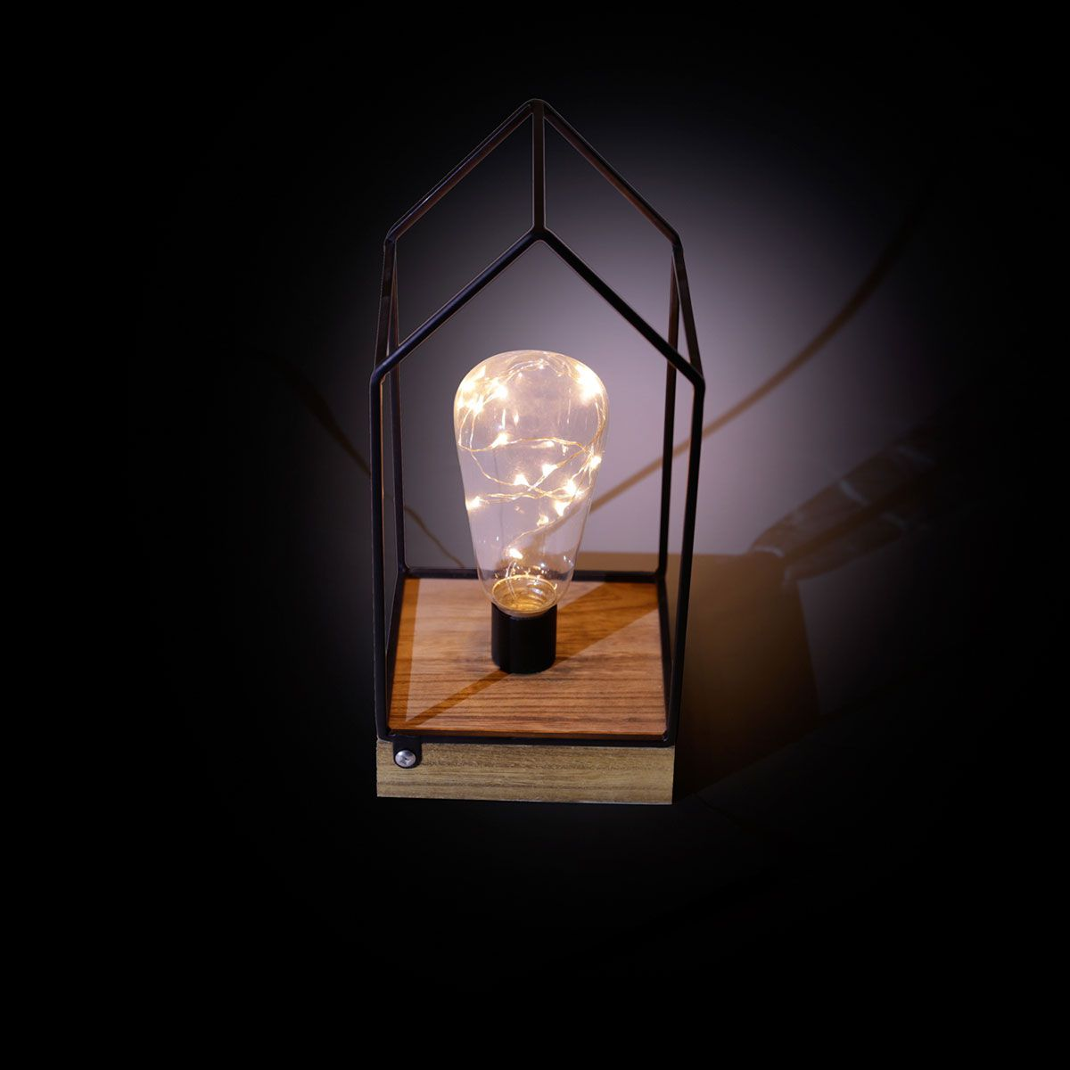 Luminaria Decorativa Led Metal e Madeira Little House